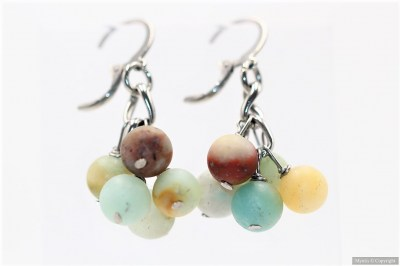 Boucles grappes amazonite mate